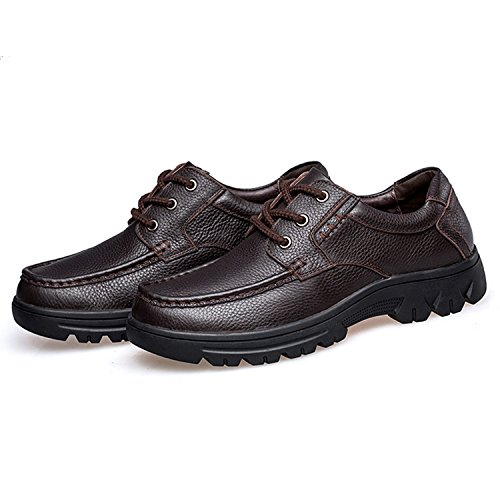 Genuine Men's Modern Classic Width PHILDA Cow Wide up Lace Oxford Leather Dress Business Formal Shoes Brown2 Eqx7fx