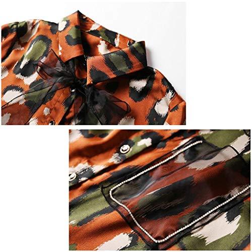 Gasa Mujeres Rollo Orange Abajo Camisas Cardigan Tops Largo Con Floral Casual Blusas Manga Impresas Las Botón Lazo vpqd1Sqg