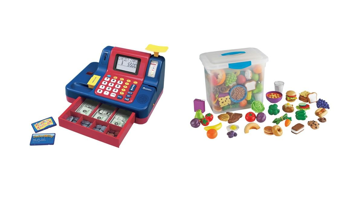 Learning Resources Pretend & Play Teaching Cash Register LER2690 With Learning Resources LER9723 New Sprouts Classroom Play Food Set