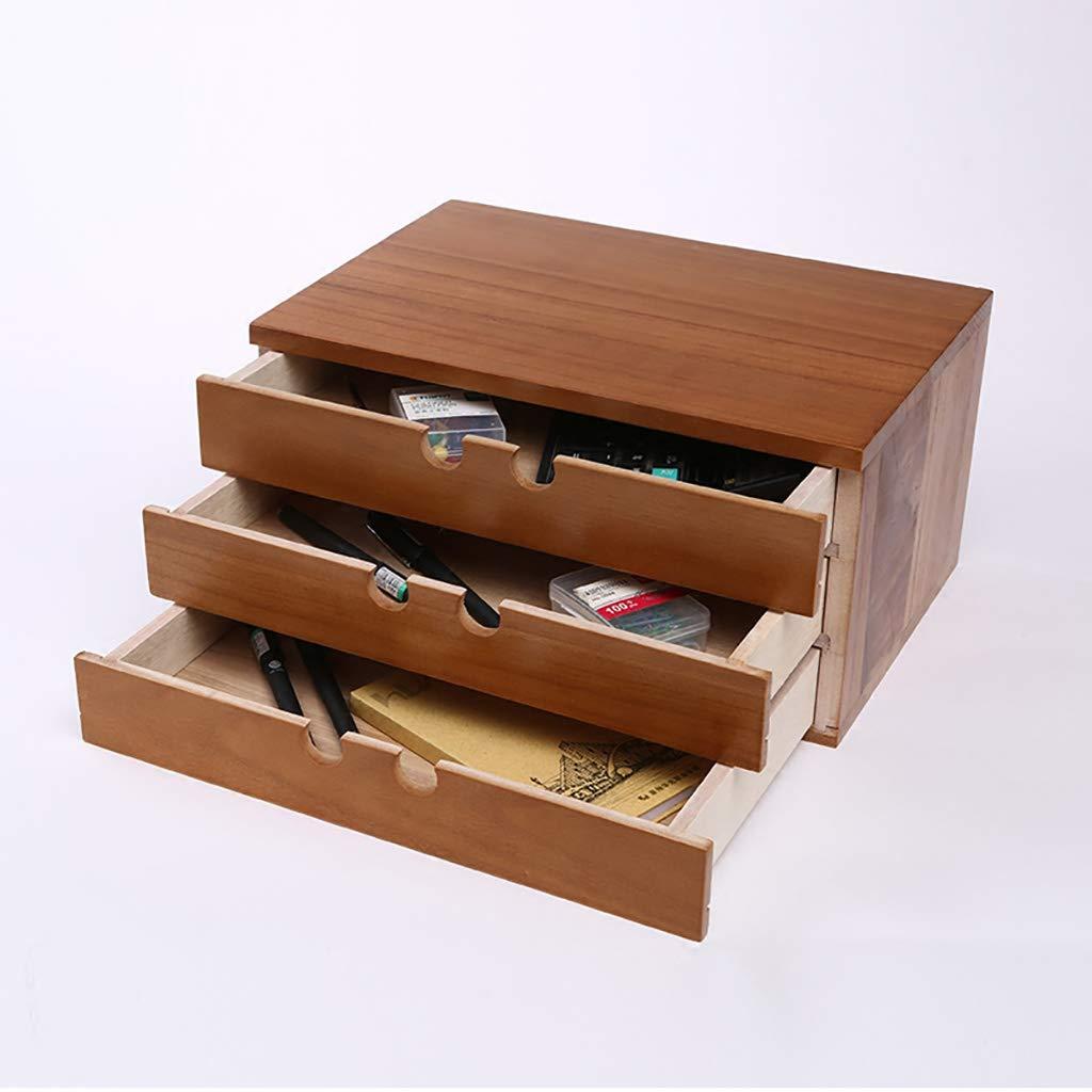 Carpetas Suministros Suministros Carpetas de oficina bastidores cajón de madera maciza, caja de almacenamiento de escritorio, papelería de oficina, archivos, artículos diversos, caja de acabado (log color) caja de archivo 9dac49