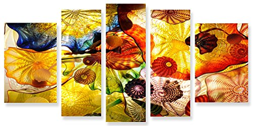 Startonight Glass Wall Art Acrylic Abstract Decor Set Feeling Hypnotic, 5 Stars Gift and a Contemporary Clock Startonight Set of 5 Total 35.43 X 70.87 Inch 100% Original (Halloween Decor Hobby Lobby)
