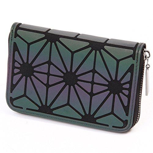 Women Short Clutch Wallet Diamond Lattice Standard Zipper Wallets Designer Noctilucent Purse 2