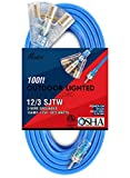 Miusco 100 ft 12 Gauge Heavy Duty Outdoor Extension Cord, 3 Prong, 12/3 SJTW, Triple Outlets, Lighted Plug, Fluorescent Blue