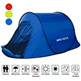 ANCHEER Pop Up Tent, Automatic Instant Tent, Backpacking Camping Hiking Tent, 1-2 Person Beach Tent Sun Shelter, Water-resistant & UV Protection, Setup & Folding in Seconds (Blue_1~2 person)