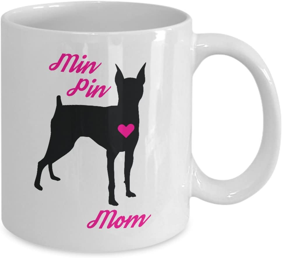 Amazon Com Miniature Pinscher Mug Min Pin Mom Coffee Cup For Women Mini Doberman Lovers And Owners Kitchen Dining