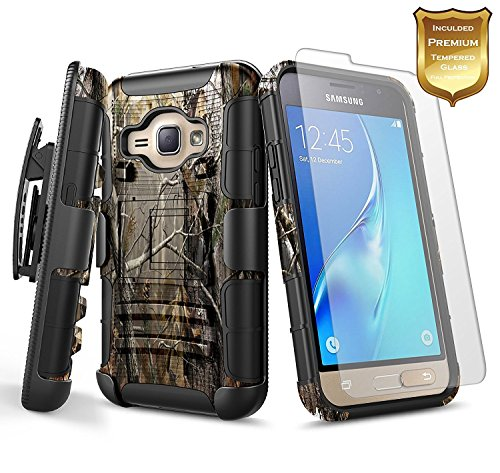 NageBee Galaxy Luna Case (4G LTE) / Express 3 / Amp 2 w/[Tempered Glass Screen Protector], [Heavy Duty] Armor Shockproof [Belt Clip] Holster [Kickstand] Combo Case for Samsung Galaxy J1 2016 -Camo