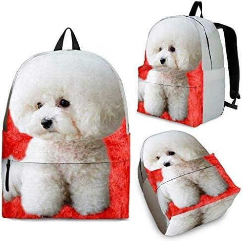Breedink Bichon Frise On Red Fur Print Backpack / Breedink Bichon Frise On Red Fur Print Backpack