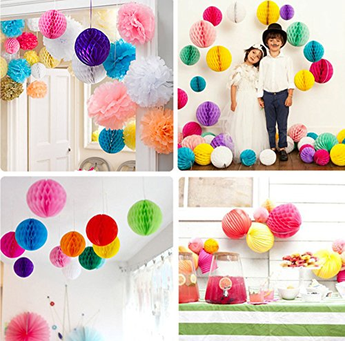 Babycolas Mum 8(20cm) 8pcs Mixed Color Decorative Tissue Paper Honeycomb Balls Tissue Paper Flower Ball Birthday Decoration, Wedding Party Decor, Pom Poms Balls, Pom Poms Decoration