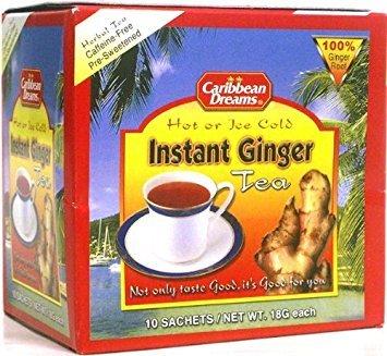 Caribbean Dreams Instant Ginger Tea, Pre-Sweetened, 10 Sachets (2 Pack)