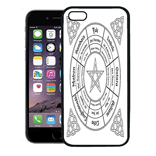 - Semtomn Phone Case for iPhone 8 Plus case Cover,Festival Wheel of The Year Wiccan Calendar Pagan Altar Annual Autumn,Rubber Border Protective Case,Black