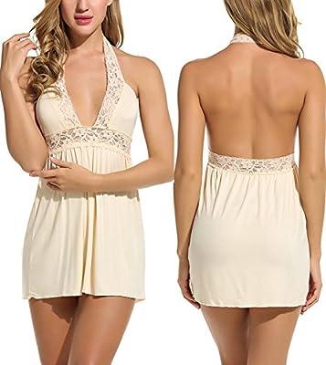Avidlove Nightwear Sexy Lingerie for Women Halter Chemise Babydoll Set