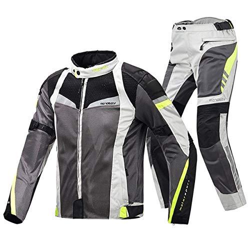 レーシングスーツ FidgetFidget 2本/セットオートバイ人気の夏のメッシュの換気保護ジャケット+パンツスーツ スーツグレーホワイト XXXL B07T675CNT スーツグレーホワイト XXXL
