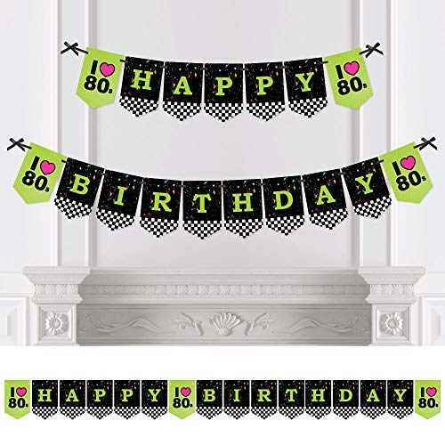 Big Dot of Happiness 80's Retro - Totally 1980s Birthday Party Bunting Banner - Birthday Party Decorations - Happy -