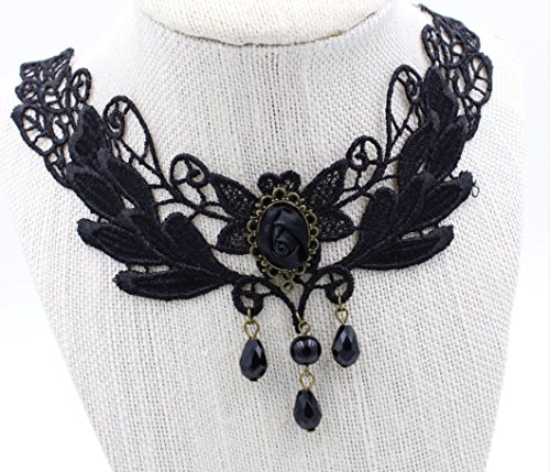Steampunk Black Rose Beaded Tassel Lace Choker Necklace - Gothic Goth - False Collar - Steam Punk - s13