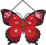 Joan Baker Designs SSC1035 Black and Red Butterfly Art Glass Suncatcher
