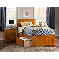 Nantucket Bed with Matching Foot Board and Urban Bed Drawers, Twin XL, Caramel Latte