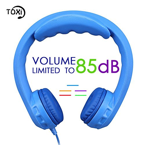 Toxi Wired Kids Headphones - Volume Limited Over-ear Headsets with Padded Cushions and Removable Size-adjuster Suit for Kids - Blue