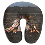 U-Shaped Pillow Neck Shoulder Body Care Firewood Fire Flame Health Soft U-Pillow For Home Travel Flight Unisex Supportive Sleeping