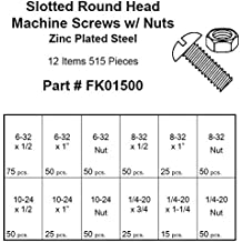 Slotted Round Head Machine Screw Kit - #6-32 X 1/2 to 1/4-20 X 1-1/4 - Zinc Plated Steel