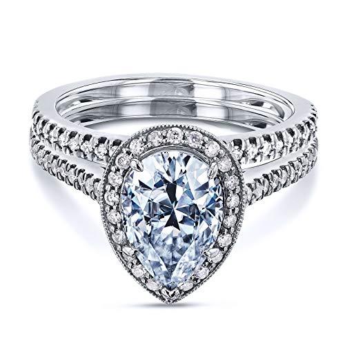 (Pear Shape Moissanite Halo Bridal Set (2 3/5 CTW) - white-gold / 5.0 / Kobelli H-I)