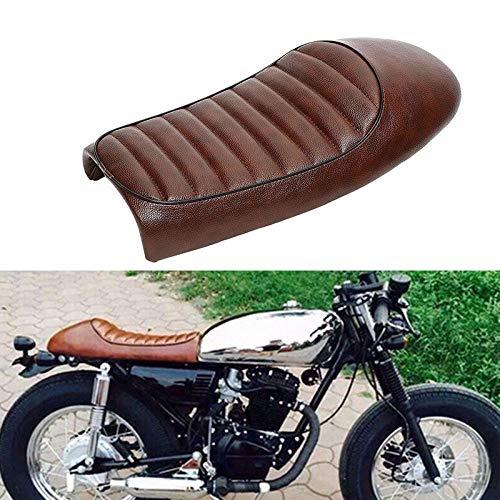 Moligh doll Motocicleta Retro Silla De Asiento De Caf/é De Corredor Asiento Plano De Brat Pan Vintage Scramble para Cg125 Cb350 Cb400 Cb500 Cb750 Sr400 Xj XS Coj/ín De Cuero De PU Marr/ón