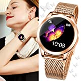 SmartDaily Smart Watch for Women, Color Touch Screen Ladies Smartwatch Waterproof IP68, Women Fitness Tracker with Heart Rate,Pedometer,Calories for Aandroid/iPhone,Gift for Girls Women (A: Rosegold)