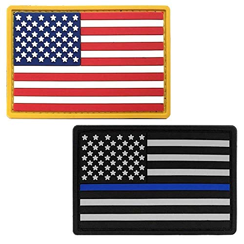 - Bundle American Flag PVC Patch & Thin Blue Line - USA Flag Patch United States of America Military Uniform Tactical Jacket Milsim Hats - Soft Rubber Emblem - Hook & Loop - 3
