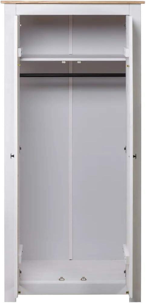 armario dormitorio con 2 compartimentos y una barra suspendida GOTOTOP Armario blanco 80 x 50 x 171,5 cm Pino Panama macizo