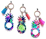 Pineapple Personalized Monogram Keychain Key Ring Acrylic Vinyl - Tropical, Beach, Pineapple - 3'' - You Choose Pattern, Text and Text Color