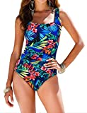 Firpearl Women's Retro One Piece Bathing Suit Ruched Tummy Control Swimsuit Red Blue Floral US10