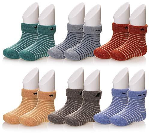 Children Boy Girls Soft Thick Stripe Socks Thermal Warm Winter Casual Toddlers Kids Socks 6 Pairs (Stripe, 1-3 Years)