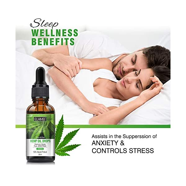 Bio-Active Hemp Oil Drops 2000mg Known as Miracle Oil Benefits Brain Body Muscles Nerves Great for Anxiety, Relief Relax Muscles, Joints, Swelling, Natural Anti Inflammatory, Sleep Support & Mood 30ml