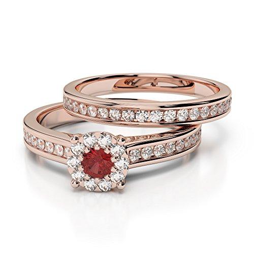 Or Rose 18carats 0,10ct G-H/VS sertie de diamants ronds Cut Grenat et mariée Bague de fiançailles et ensemble de Agdr-1339