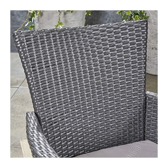 Great Deal Furniture Austin Outdoor 9 Piece Wood and Wicker Expandable Dining Set, Dark Gray and Gray and Silver - If you're going to invest in a fine place for you and your loved ones to dine outdoors, you may as well allow room for your family to grow. This expandable dining set seats eight and the adjustable table allows you to customize its dimensions to accommodate not only new friends and relatives but also larger meals and other activities that may call for just a bit more space. Includes: One (1) Dining Table and Eight (8) Chairs. Table Material: Acacia Wood. Chair Material: Polyethylene Wicker. Chair Frame Material: Iron. Cushion Material: Water Resistant Fabric. Composition: 100% Polyester. Table Finish: Gray. Wicker Finish: Dark Gray. - patio-furniture, dining-sets-patio-funiture, patio - 51QCu3K6w9L. SS570  -