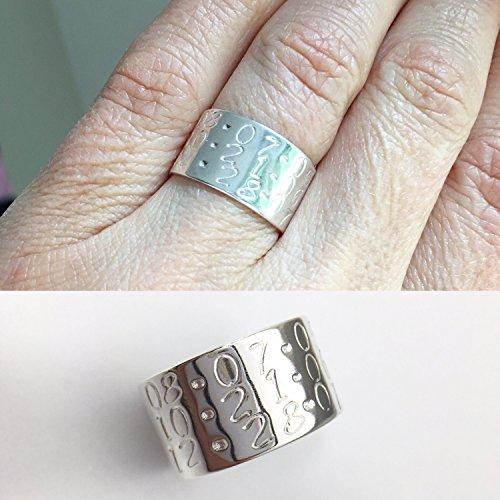 Keepsake Ring, Mothers Ring, Wedding Band, 10K Band Ring, Sterling Silver Ring, Unisex Ring, Dates Ring, Wide band ring