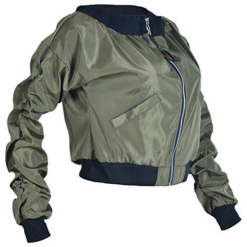 Chaqueta Corta Mujeres Delgado Parka Outwear la Chaqueta Moto Verde