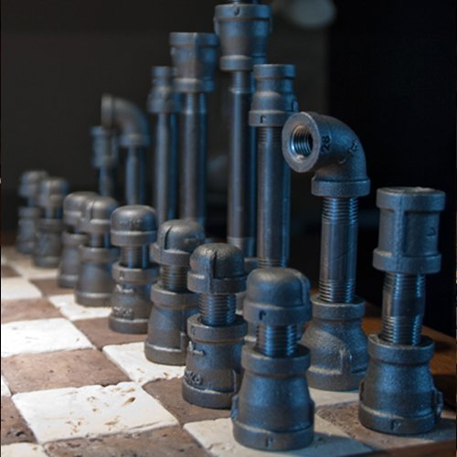 Amazon.com: Upcycled, Industrial, Cast Iron Pipe Chess Set With Board And  Overhead Spot Lighting Making It A Distinctively Designed Work Of Art For A  Wide ...