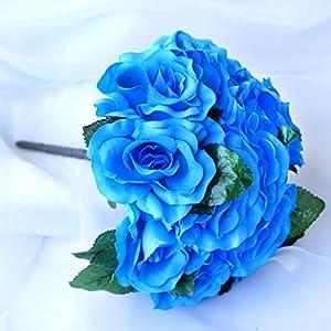 BalsaCircle 4 Bridal Flowers Velvet Roses Bouquets - Artificial Flowers Wedding Party Centerpieces Arrangements Supplies 56