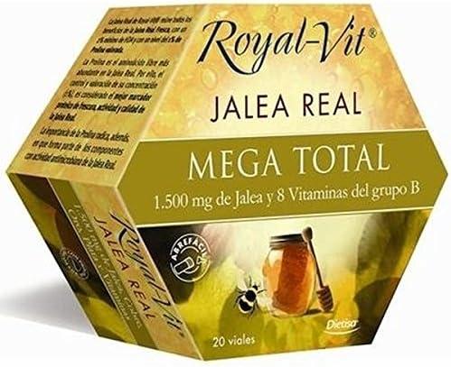 Royal-Vit Jalea Real Mega Total de 20 Viales de 10 ml de Dietisa - Cada Vial Contiene 1500 mg de Jalea Real y 8 Vitaminas del Grupo B y Niacina