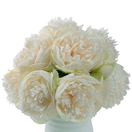Lvydec Vintage Peony Artificial Flowers - 2 Pack Silk Peony Bouquet with 10 Flower Heads For Wedding Home Decoration (Cream White) (Peony Centerpiece)