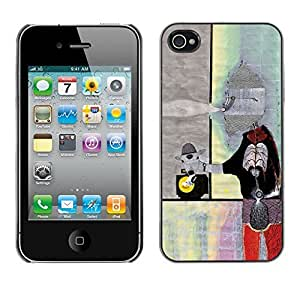 SoulCase / Apple Iphone 4 / 4S / Surreal Abstract Collage Art Painting / Slim Black Plastic Case Cover Shell Armor