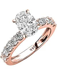 2.1 CTW Classic Side Stone Prong Set Diamond Engagement Ring w/ 1.2 Ct GIA Certified Oval Cut E Color SI2 Clarity Center