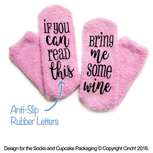 Luxury Wine Socks with Cupcake Gift Packaging: Mothers Day Gifts with If You Can Read This Socks Bring Me Some Wine Phrase - Funny Accessory for Her, Present for Wife, Gifts for Women Under 25 Dollars by cinch! (Image #5)
