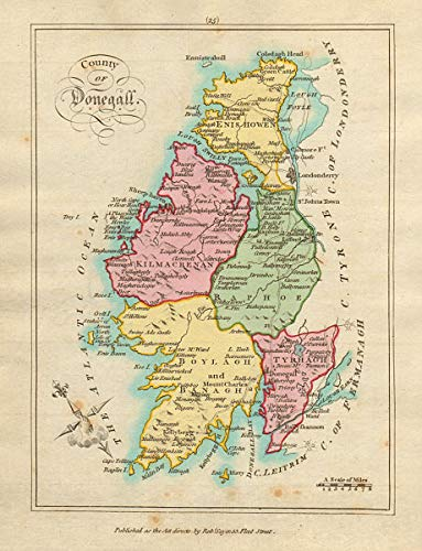 Amazon Com County Of Donegall Ulster Antique Copperplate Map By