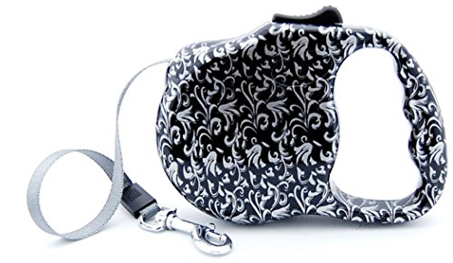 - bellus Retractable Dog Leash, Print Great For Small Dogs, Up To 30 lbs, Silver/Black
