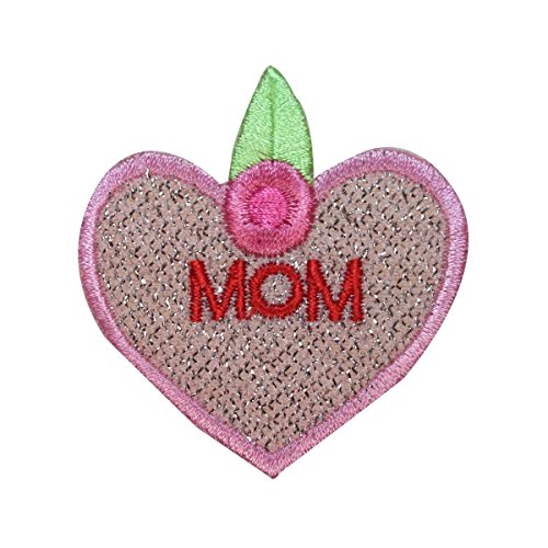 ID 3257B Mom Heart Patch Flower Valentine Day Love Embroidered Iron On Applique