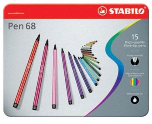 130 opinioni per STABILO Pen 68 Pennarelli colori assortiti- Scatola in metallo da 15