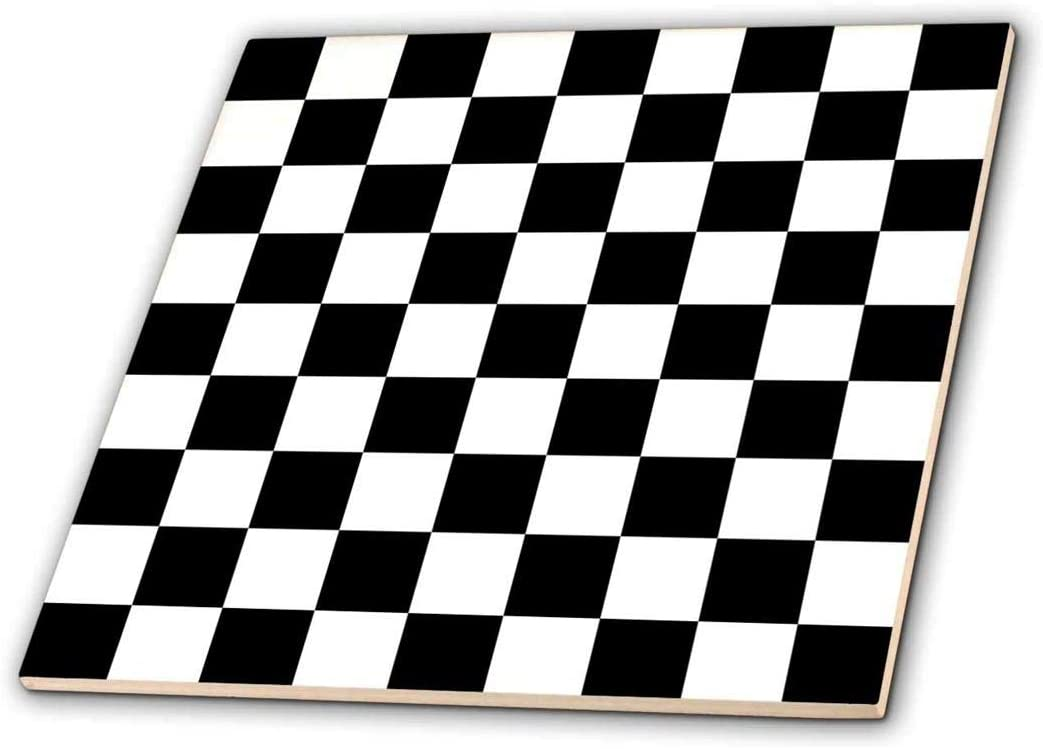 3dRose ct_154527_1 Check Black and White Pattern Checkered Checked Squares Chess Checkerboard or Racing Car Race Flag Ceramic Tile, 4""