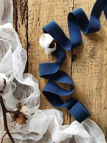 Navy blue 1 wide, 5yd satin ribbon, cotton frayed edges hand dyed, for Rustic wedding invitation ties, favors gift wrapping Party decor bows, Florist Bouquet supplies, Flat lay styling props