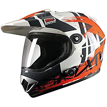 Casco de Moto Enduro Origen GLADIATORE Dakar, Bluetooth, Color Naranja/Blanco/Gris